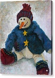 Grinning Snowman Acrylic Print