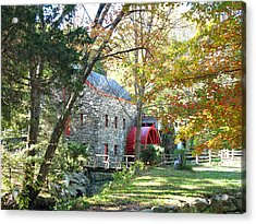 Grist Mill In Fall Acrylic Print by Barbara McDevitt