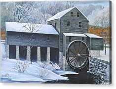 Grist Mill In Winter Acrylic Print by Dave Hasler