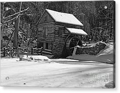 Grist Mill Winter In Black And White Acrylic Print by Paul Ward