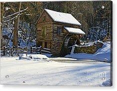 Grist Mill Winter Acrylic Print by Paul Ward
