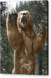 Grizzly Bear Attack On The Trail Acrylic Print by Daniel Hagerman