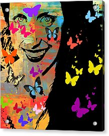 Groovy Butterfly Gal Acrylic Print by Kathy Barney