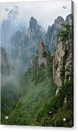 Grotesque Rocks On Foggy Mt. Huangshan Acrylic Print