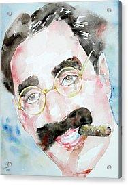 Groucho Marx Watercolor Portrait.2 Acrylic Print by Fabrizio Cassetta