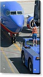 Ground Crew Directing Jet Airliner Acrylic Print