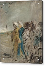 Group Of Arabs Or, Joseph Sold By His Brothers Oil On Canvas Acrylic Print by Theodore Chasseriau