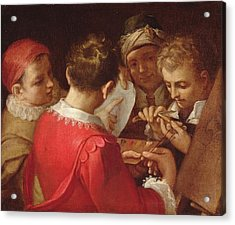 Group Of Artists Oil On Canvas Acrylic Print by Annibale Carracci