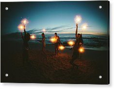 Group Of Friends With Fireworks Acrylic Print by Wundervisuals