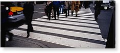 Group Of People Crossing At A Zebra Acrylic Print