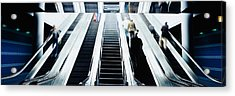 Group Of People On Escalators At An Acrylic Print by Panoramic Images