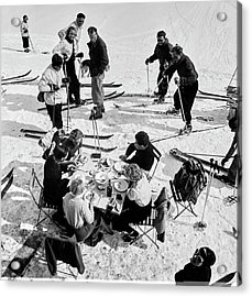 Group Of Skiers At Sant Moritz Acrylic Print by Roger Schall