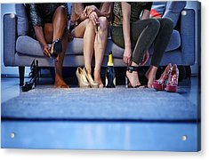 Group Of Women Putting On Heels Before Night Out Acrylic Print by Mike Harrington
