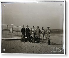 The Wright Brothers Group Portrait In Front Of Glider At Kill Devil Hill Acrylic Print by R Muirhead Art