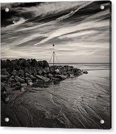 Groyne Marker Acrylic Print by Dave Bowman