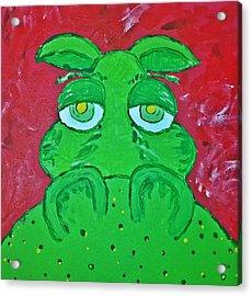 Grumpy Green Hippo Acrylic Print