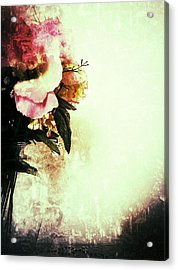 Grunge Flowers Acrylic Print