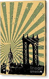 Grunge Image Of New York, Poster, Vector Acrylic Print