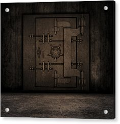 Grunge Interior With Bank Vault Acrylic Print by Kirsty Pargeter