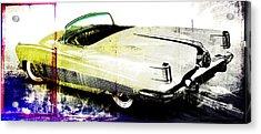 Grunge Retro Car Acrylic Print by David Ridley