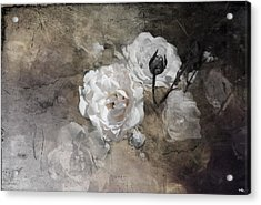 Grunge White Rose Acrylic Print by Evie Carrier