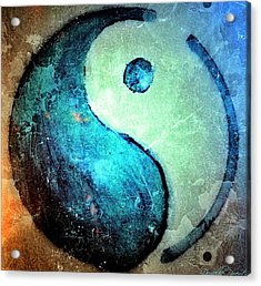 Grunge Yin Yang Water Is Precious Acrylic Print by Danielle  Parent