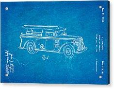 Grybos Fire Truck Patent Art 1939 Blueprint Acrylic Print