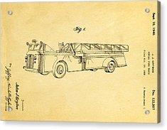Grybos Fire Truck Patent Art 1940 Acrylic Print
