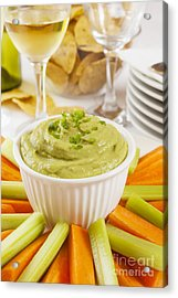 Guacamole With Carrot And Celery Sticks Acrylic Print