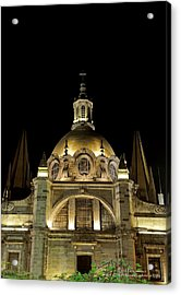 Acrylic Print featuring the photograph Guadalajara Cathedral At Night by David Perry Lawrence