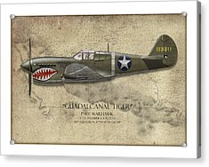 Guadalcanal Tiger P-40 Warhawk - Map Background Acrylic Print
