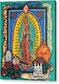 Guadalupe Collage In Turquoise Acrylic Print by Candy Mayer