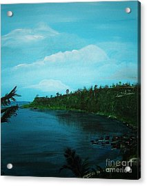 Acrylic Print featuring the painting Guam Island Cove by Brigitte Emme