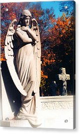 Guardian Angel Statue With Cemetery Cross Acrylic Print by Kathy Fornal