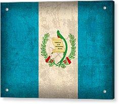Guatemala Flag Vintage Distressed Finish Acrylic Print by Design Turnpike