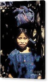Guatemala Smiling Maya Girl Acrylic Print by John  Mitchell
