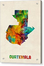 Guatemala Watercolor Map Acrylic Print by Michael Tompsett