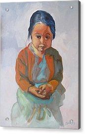 Guatemalan Girl With Folded Hands Acrylic Print