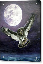 Great Grey Owl Of The Guiding Light Acrylic Print by Amy Scholten