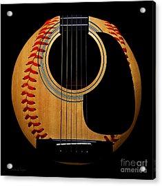 Guitar Baseball Square Acrylic Print
