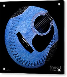 Guitar Blueberry Baseball Square Acrylic Print by Andee Design