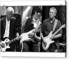 Guitar Legends Jimmy Page Jeff Beck And Eric Clapton Acrylic Print by Marvin Blaine