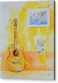 Guitar Of A Flower Girl In Love Acrylic Print by Patricia Awapara