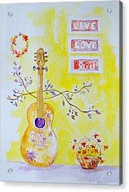 Guitar Of A Flower Girl Live Love Be Happy Acrylic Print by Patricia Awapara