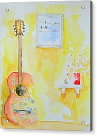 Guitar Of A Flower Girl With A Touch Of Zen Acrylic Print by Patricia Awapara