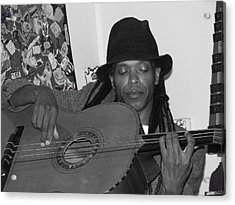 Guitar Player Black Hat Acrylic Print by Cleaster Cotton