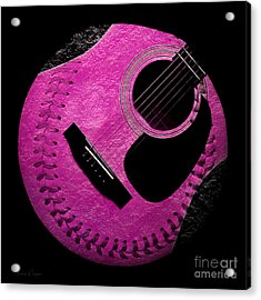 Guitar Raspberry Baseball Acrylic Print by Andee Design