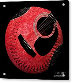 Guitar Strawberry Baseball Acrylic Print by Andee Design