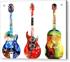 Guitar Threesome - Colorful Guitars By Sharon Cummings Acrylic Print by Sharon Cummings