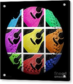 Guitar Tic Tac Toe White Baseball Square Acrylic Print by Andee Design